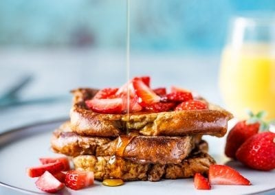 Brioche Latte French Toast with Strawberries