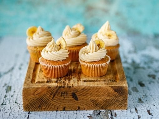 Banana and caramel cupcakes